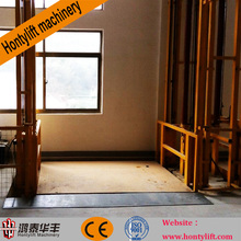 outdoor warehouse hydraulic cargo lift elevators/wall mounted hydraulic lead rail lift