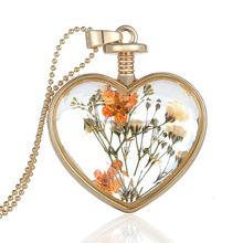 2015 New Design Gold Heart Natural and Orange Flower Locket Pendant Necklace