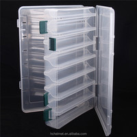 Promotion!! 14 Compartments Double Sided Clear Plastic Lure Box Visible Fish Box Fishing Tackle Cooler Box with Drain Hole