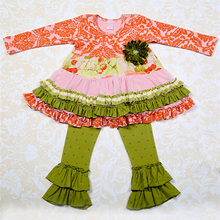 2015 autumn Thanksgiving Girls cotton persnickety, Giggle Moon remake outfits