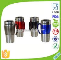 Custom non-spill coffee thermos stainless steel travel mug, Travel plastic mug, Tumbler mug
