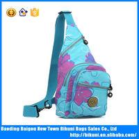 Women blue nylon chest bag cross body bag satchel shoulder bag