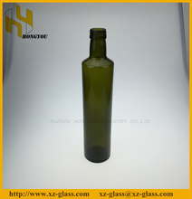 Vintage green Round glass olive oil bottle