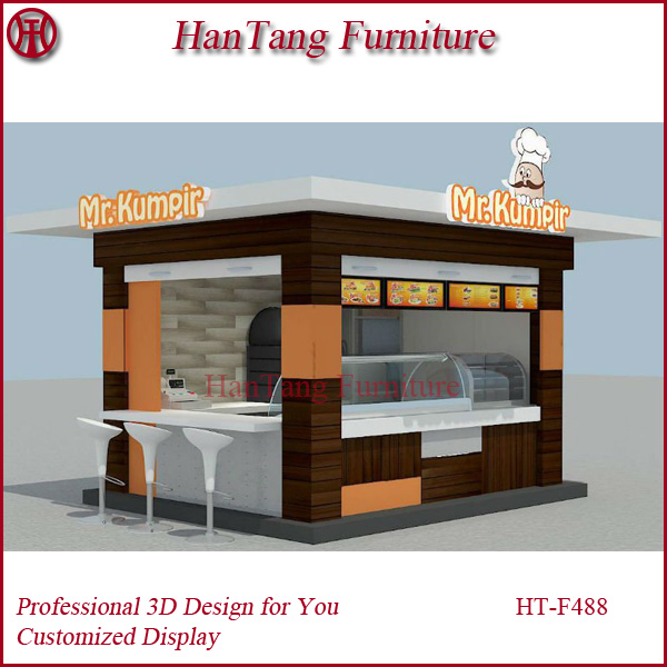 Street Wood Outdoor Kiosk For Food Snack Coffee Ice Cream