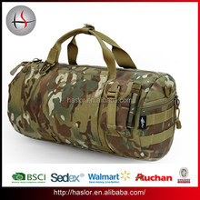 Large capacity rolling canvas military duffel bag with camouflage pattern