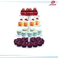 Round 4 Tiers Clear plexiglass wedding cake display stand, acrylic cake display