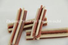 pet food tin (two-tone straight hexagonal natural dog chewing bone)