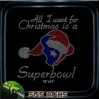 Super Bow For Christmas Texans Rhinestone Transfer