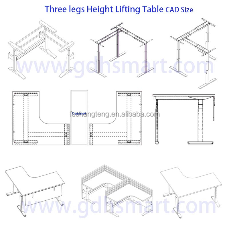 High tech office table height adjustable executive ceo for Html table width