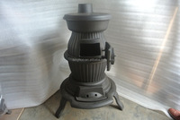 pot belly stove, round cast iron stove , wood and coal fuel stove