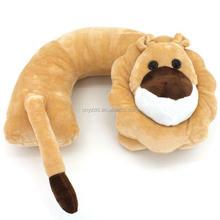 2015 fashion Plush animal u-shaped pillows in car /airplane/bedroom
