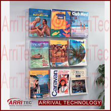 Multi adjustable pockets magazine book holder wall mounted acrylic exhibition brochure stand