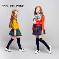 COOL KID ZONE 2015 autumn winter new design 100%cotton long sleeve mini girl skirts and tops suit girl skirts