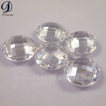 high quality white double turtle face oval cz gems stone