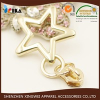 personalized golden zipper pulls with star decoration