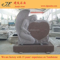 Becauty Modern Angel Carved Pink Heart Shaped Granite Headstones