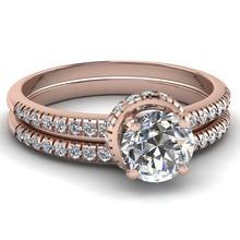 Cluster diamond fashion wedding rings 2PC/set ring jewelry
