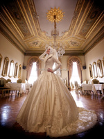 2015 Muslim Wedding Dresses Fancy Taffeta Appliques Beading Full Long Sleeves Bridal Dresses Vestido De Boda HS406