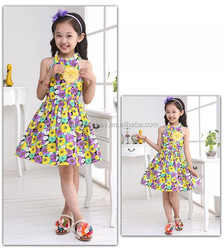 latest frock designs for teenage girl sunflower patterned for summer