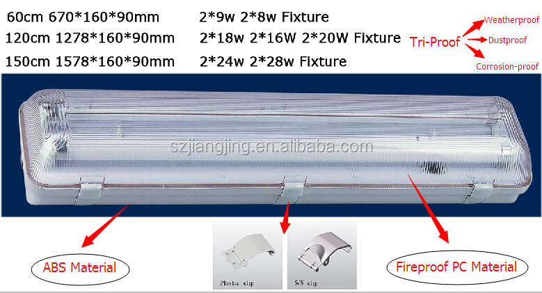 Led Fluorescent Light Fixtures Ip65 40w 2ft 4ft 5ft Outdoor Wall ...