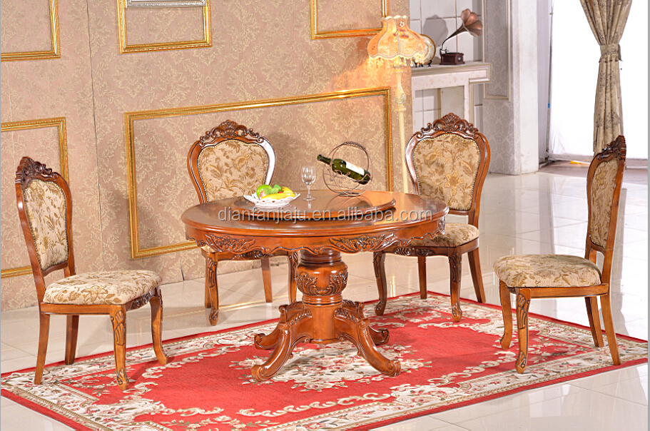 Design wooden round dining table set rustic chairs buy for Cheap round wooden dining tables