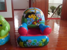 PVC kids air sofa inflatable cartoon printing lounge corner sofa