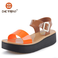 2015 newest design cheap pvc shoes jelly plastic sandals fancy wedge lady shoes sexy woman sandals
