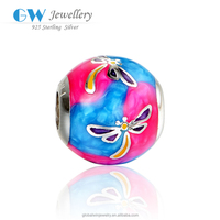 Shape Dragonfly 925 Sterling Silver Round Beads Fits For European Bracelet Enamel Charms AMLD008