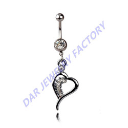 DAR Stainless Steel Crystal Clear Gem Heart Dangle Navel Belly Button Ring Barbell Body Piercing