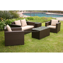 Clearance Sale steel frame 5-Piece wicker cheap lounge set used patio furniture