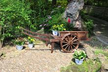 garden wooden cart planter, flower pot & planter carrier ALS-2105