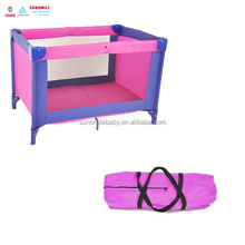 colorful plastic baby playpen, easy folding outdoor baby travel cot, hot sale infant day care baby cribs