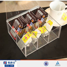 Clear Acrylic Storage Boxes and Bins Acrylic Tea Bag Drawer Tray with 6 Compartments