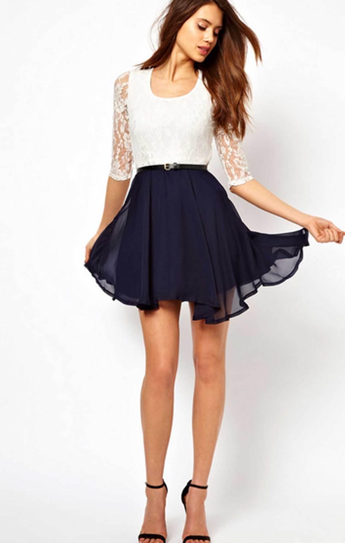 Платье С Белой Юбкой