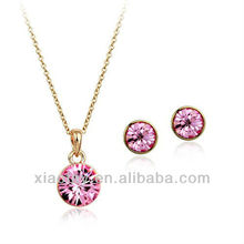 Austria Crystal Heart copper alloy Jewelry Sets