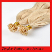 Blonde pre-bonded flat tip 100% human hair extensions with Italian keratin glue