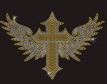 Fluorescence nailhead studs cross iron on transfer motif
