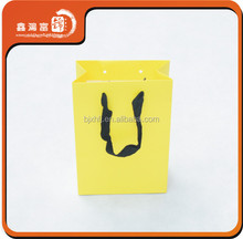 hot sale beautiful yellow paper shopping bag