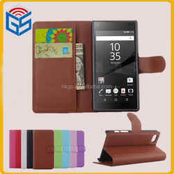 Online Shopping UK Flip PU Leather Wallet Case For Sony Xperia Z5 Compact E5803 E5823 With Card Slots
