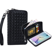 Super Luxury Classical Black Waven Pattern Zipper Wallet Case for Samsung Galaxy S6 Edge with Cash Slots