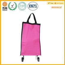 Hot sale plain color two wheel foldable canvas shopping trolley bag