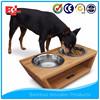 Elevated bamboo dog feeders and raise dog bowl
