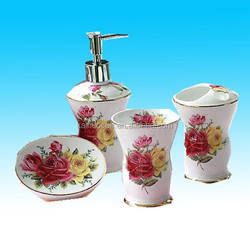 ceramic bath accessory set with nice red followers from china