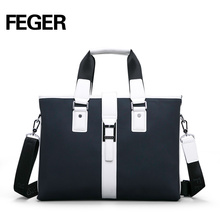 Feger Top Grade Cow Leather Men Business Handbag for Men Leather