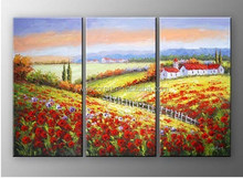 Fashion decorative wild flower acrylic landscape paintings on canvas