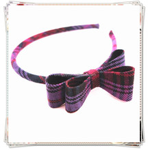 Old School Flannelette Double Bow Tie Headband Alice Band Fashion Hair Accessories for Kids