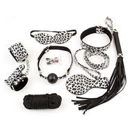 Leopard grain 8 Pieces Leather erotic toys fetish sex bondage,whip mouth gag hand cuffs,harness slave aduld games