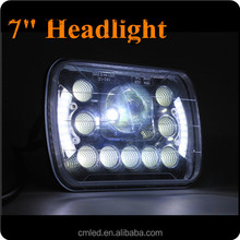 """New style 7"""" high/low beam led headlight with angel eyes square led work light 55w"""