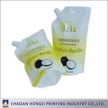 Plastic leakproof detergent laundry corner pour spouted pouch bag/shaped spout bag/liquid packaging bag with spout