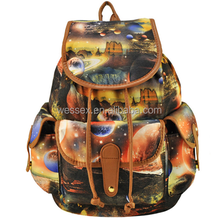 Planets Printing Vintage Women's Backpack Fashion Canvas School Bag Travelling Backpack